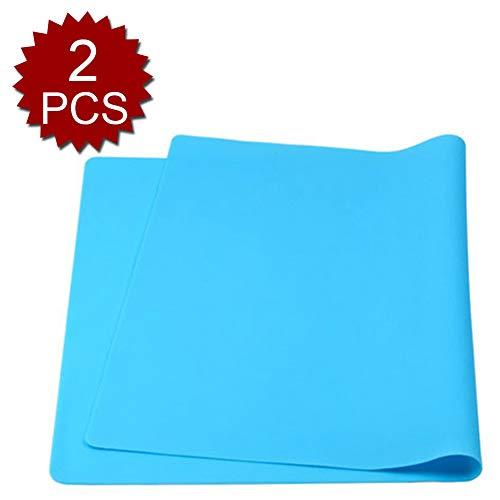 Aspire Set de table réutilisable antidérapant en silicone Taille XL 40,6 x 61 cm, Silicone, bleu, 2pcs
