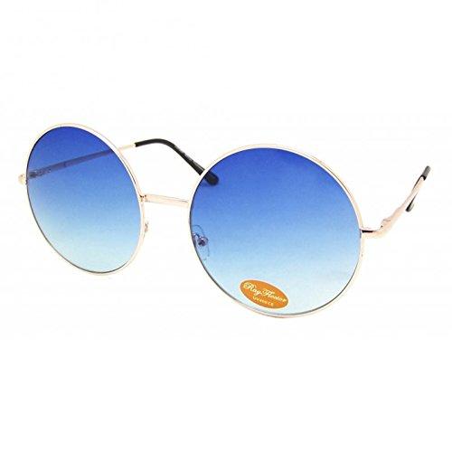 Chic-Net Sonnenbrille rund Glamour golden XL Oversize John Lennon getönt 400UV Vintage blau