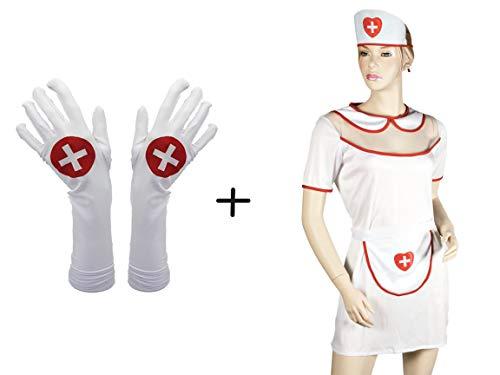 Bada Bing Krankenschwester Kostüm Sexy Nurse Mit Passenden Handschuh Sexy Lang Weiß Verkleiden Karneval Fashing ()