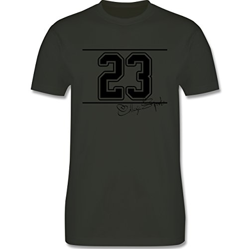 Basketball - College Sports Zahl Oldschool - Herren Premium T-Shirt Army Grün