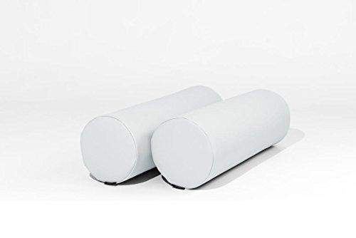 MiPuf - Respaldo Rulos para Colchon de Palet (2 uds)- Tamaño 60x20 - Tejido Nautico para Exterior - Color Blanco
