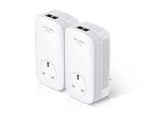 TP-Link 2000 Mbps 2-Port Gigabit Passthrough Powerline Starter Kit, Plug & Play, 2 × 2 MIMO with Beamforming, UK Plug (TL-PA9020P KIT) Test