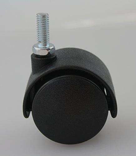 4er Set MS Beschläge® Möbelrolle Hartbodenrolle Lenkrolle ø 35mm aus Kunststoff mit Gewindestift