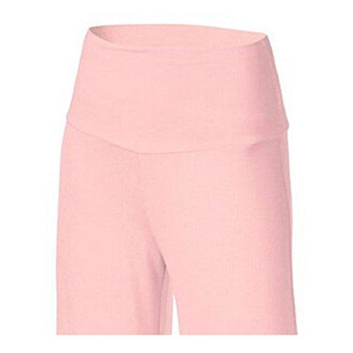 Lanmworn Pantaloni Larghi Donne A Vita Alta Pantaloni Lunghi Allentati Di Palazzo Allentati, Casual Flare Flowy Pleat 6 Colori Rosa