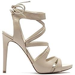 PoiLei Damen High Heel Riemchen Sandalette mit Schleife als Verschluss Giorgia Leder beige