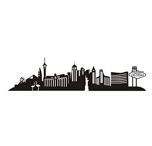 Las Vegas Wahrzeichen Gebäude Silhouette Wandaufkleber Abziehbild Stadt Wand Wohnzimmer PVC-Kleber Wasserdicht Art Home Decoration Zubehör