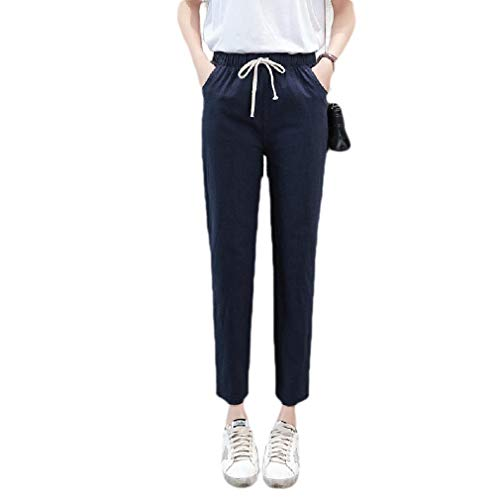 Dockers Washed Chino (CuteRose Womens Straight Washed Solid Linen Tenths Pants Casual Leisure Pants Navy Blue L)