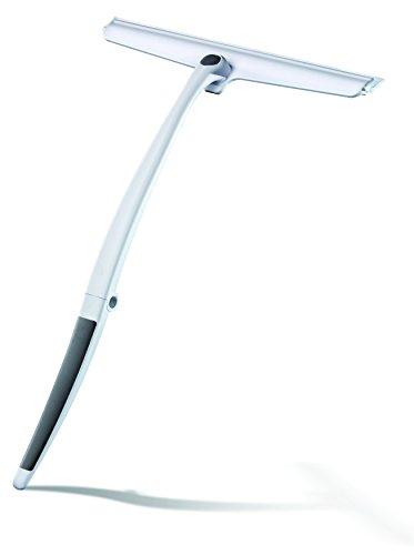 Revo Duschabzieher Fensterwischer, mit langem Griff klappbar, integrierter Aufhänger an Glaskante, Silikonlippe transparent weiß/grau Kunststoff
