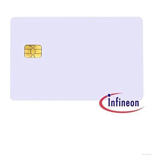 10 x Liso Blanco Pvc Plástico sle4428 Chip / SMART Tarjetas para ID Carta / Insignia Impresoras
