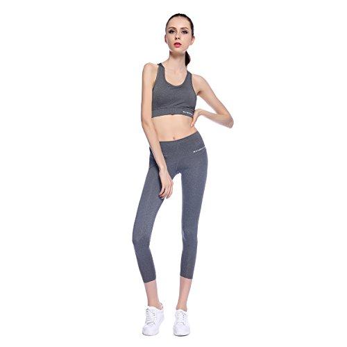 0e36ca3c7 Bonjanvye Running Bra and Activewear Pants Yoga Clothing Sets for Women  Sport Clothing Grays