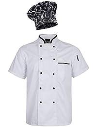 Sharplace Chaqueta con Gorra de Chef Unisex 2XL Panadero para Escuelas de Hostelería Restaurantes