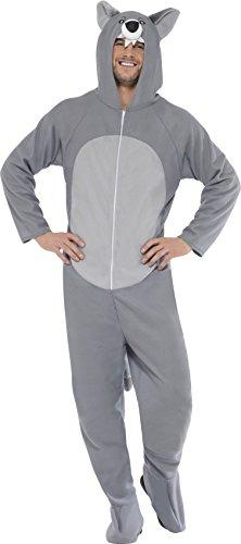 Smiffys, Unisex Wolf Kostüm, All-in-One mit Kapuze, Größe: L, 27858