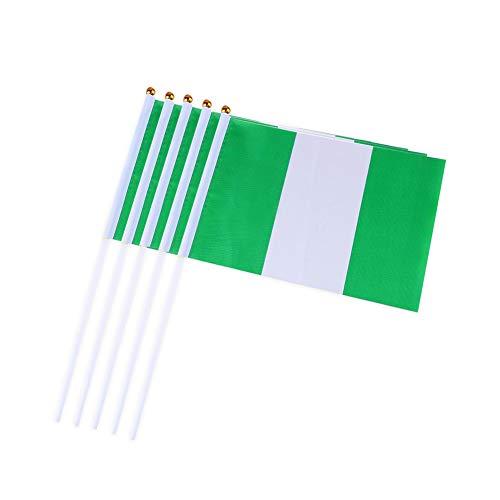 10PCS / Satz Nigeria Hand Waving Flags Mini Nationalflagge Hand 14 gehaltene * 21CM Dekor für Büro-Schreibtisch-Garten Parades Bar Schule Sport Veranstaltungen Festival Feste ()