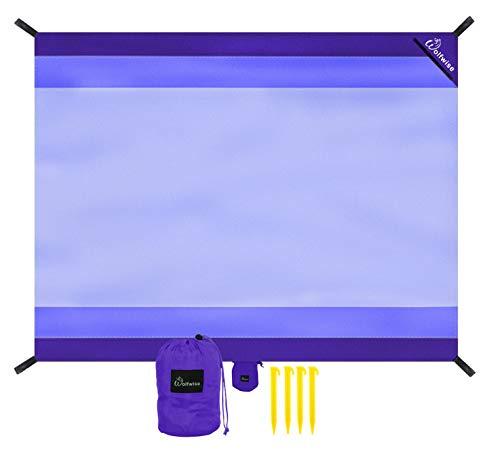 WolfWise 270 x 210 cm XXL Stranddecke, Waschbare Picknickdecke Campingdecke aus Weiches Nylon Wasserdicht Sandfrei Schnell Trocknend mit 4 Pfähle Tragbar, Lila