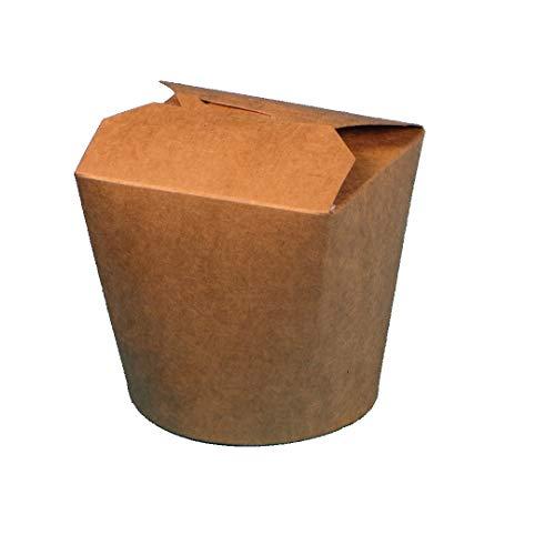 500 Bio Foodboxen Asiabox Pastabox Dönerbox Nudelbox braun PLA beschichtet verschiedene Größen zur Auswahl (32oz ca.900ml)