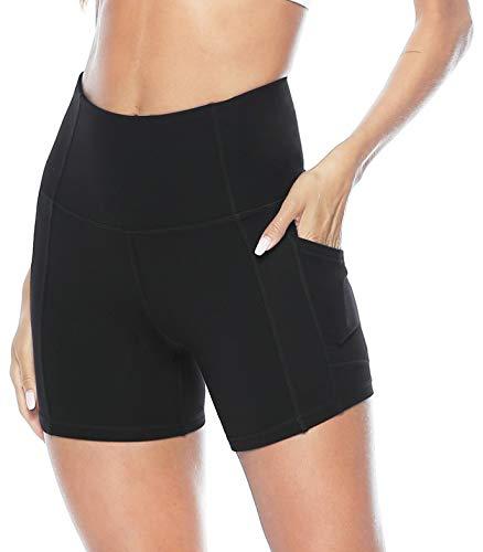 1fc3a7c05765fa Persit Sporthose Damen Radlerhose - Sport Kurz Leggins Yogahose Yoga  Leggings Schwarz-L