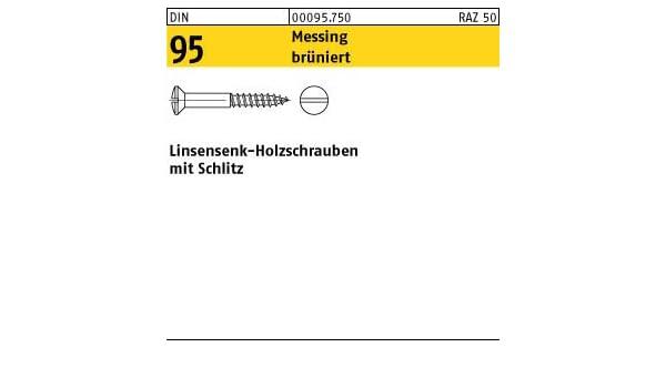 200 Linsensenkkopf Holzschrauben DIN 95 Messing 4,5x50