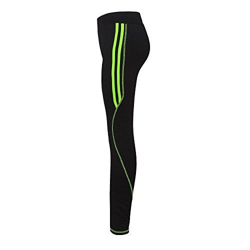 GoVIA Damen Laufhose Training Leggings streche Fitness Yoga Sporthose 4101 Grün L/XL (Lauf-hose Damen)