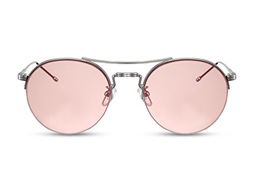 Cheapass Sonnenbrille Rund Silber Pink UV400 Frauen Damen Metall