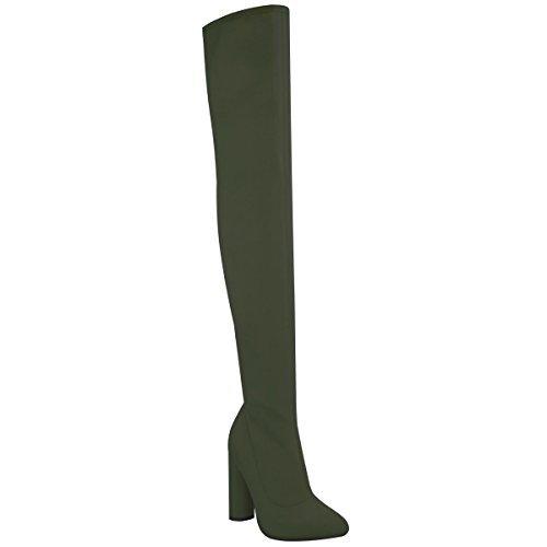 Damen Oberschenkel hoch Stretch Lycra Stiefel Overknee Promi High Heels Größe - Khaki Grün Lycra, 41