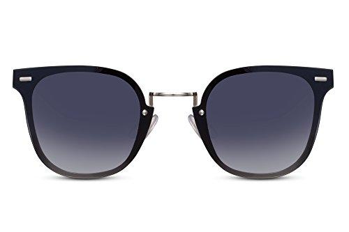 Cheapass Sonnenbrille Rund Cat-Eye Silber Grau UV400 Designer-Brille Damen Metall