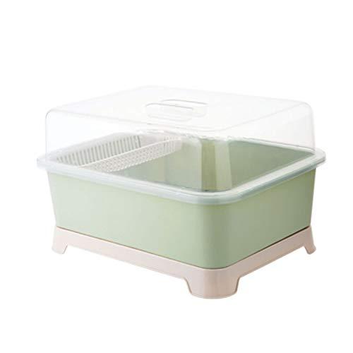 FINLR Abtropfgestell mit Deckel Abtropfgestell Abtropfgestell Bowling Aufbewahrungsbox Küchenschrank (Farbe : Grün)