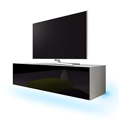Lana - Meuble TV suspendu / Table Basse TV / Banc TV de Salon (160 cm, Blanc Mat / Noir Brillant avec LED bleue)