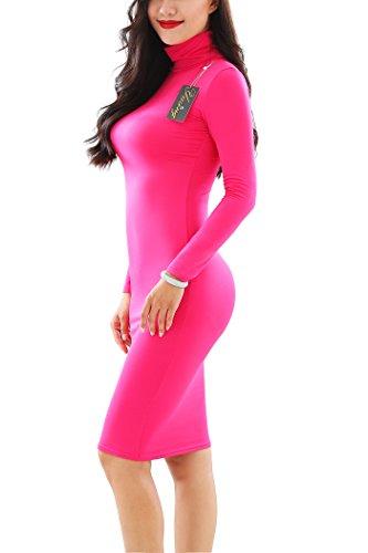 YMING Vestito corto dal Bodycon del collo di stirata del manicotto lungo delle donne Fuchsia