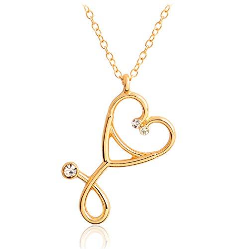 DAILYG Frauen Kristall Herzform Stethoskop Anhänger Halskette für Arzt Krankenschwester, Gold, Zinklegierung