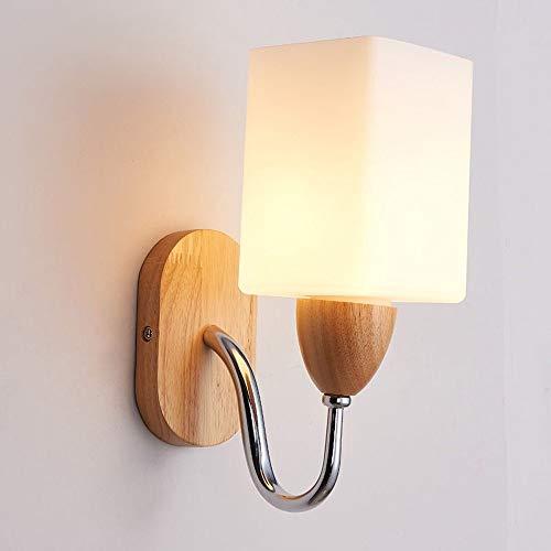 Wapipey Europäische Moderne LED Eiche Wandleuchte Kreative Metall Holz Wandleuchte Massivholz Platz Energiesparglas Wand Laterne Indoor Nacht Flur Gang Wandleuchte -