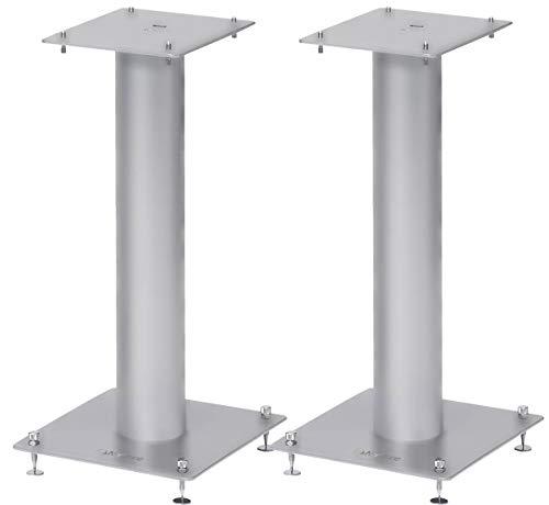 Norstone Lautsprecherständer Stylum, stabil aus Metall, bis 50kg belastbar, Paarpreis (Stylum 1 (50cm), Silber (matt))