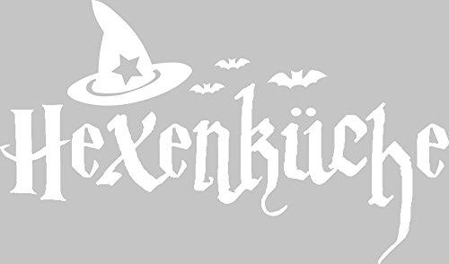 GRAZDesign Wandtattoo für Küche Halloween - Wanddeko Küche Esszimmer Hexenküche - Küchen Wandtattoo Schönes Motiv Hexenhut / 85x50cm / 010 Weiss