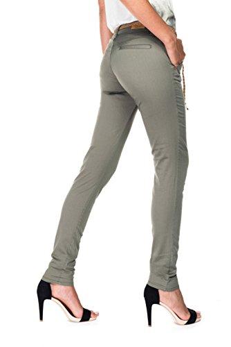 Salsa - Pantalons chinos verts avec ceinture cordon tressé - Colette - Femme Vert