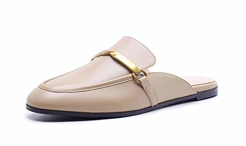 Donna Casual Scarpe con tacco 2018 Primavera Estate Novità con fibbia in metallo, sandali piatti, sandali piatti ( Color : Beige , Dimensione : 38 )