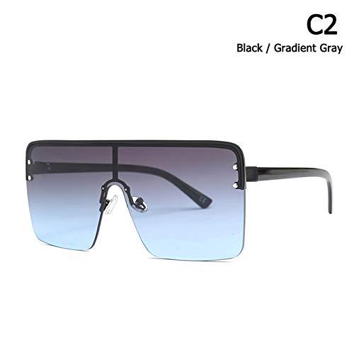 CCGSDJ Mode Kühlen Quadratischen Schild Stil Männer Nieten Sonnenbrille Frauen Markendesigner Halbrandlose Sonnenbrille