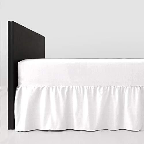 4' Waschen (mTextile Spannbettlaken, pflegeleicht, Polyester-Baumwoll-Mischgewebe, 40 cm Rüschen, Baumwollmischung, weiß, Small Double (4FT) - 122 x 190cm)