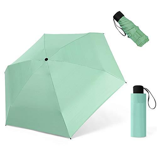 ZOCONE Mini Ombrello da Viaggio, Mini Ombrello Ultraleggero Portatile Compatto Ombrello Pieghevole Ombrello da Viaggio, 99% UV Resistenza & 100% Impermeabile (Verde)