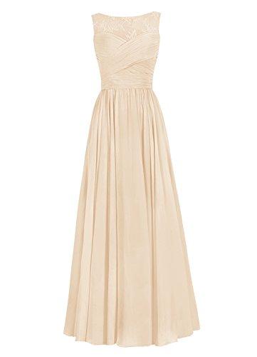 Dresstells, Robe de soirée Robe de cérémonie Robe de demoiselle d'honneur mousseline longueur ras du sol Champagne