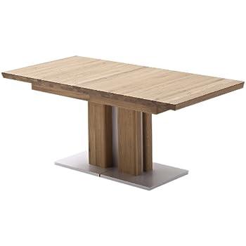 robas lund tisch esstisch s ulentisch bari ausziehbar eiche massiv edelstahloptik 160 310 x77x90. Black Bedroom Furniture Sets. Home Design Ideas