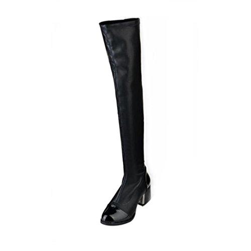 Ferse Pelz Stiefel (Damen Overknees Stiefel   Mode Leder Frauen   Toe Elastic Stretch   Starke Ferse Stiefel   Schwarz Schuhe   Sunday (Schwarz, 39))