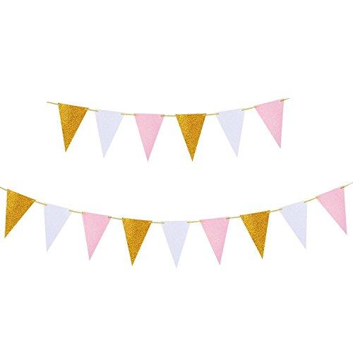 MerryNine Wimpelkette mit Dreieck-Flagge, 3 Stück, 9 m, Vintage-Stil, Wimpelbanner für Hochzeit, Babyparty, Event & Partyzubehör, 15 Stück Flaggen