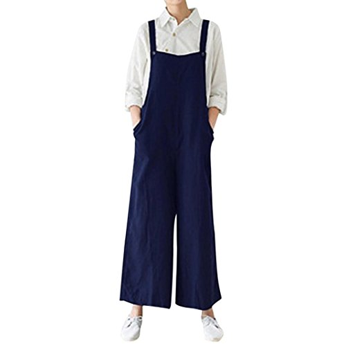 Kobay Women Playsuit Pants, Cotton Cargo Trousers Bib Overalls Dungaree Wide Leg Jumpsuit Romper