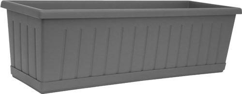 Art plast 73506 balconetta rettangolare in plastica, cm 50x17x15,  colore grigio ferro