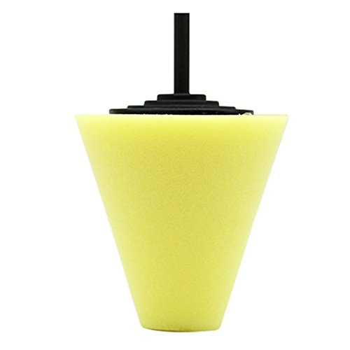 Rad Polieren Schwamm Konus 6mm Puffer Schwamm Polieren Polieren Ball für Automotive Auto Rollen Care, gelb Konus