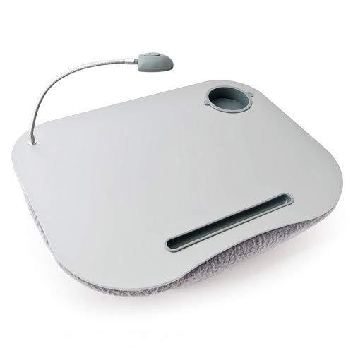 Relaxdays Laptopkissen, LED-Licht, tragbar, flacher Lapdesk, mit Getränkehalter, weiches kleines Schosstablett, grau