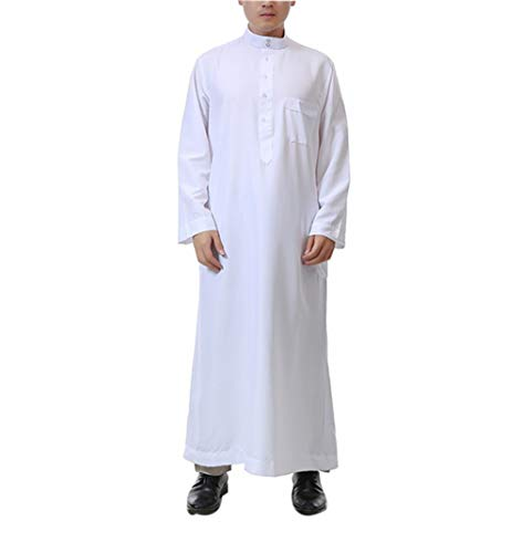 Dubai Party Kostüm - KRUIHAN Arabische Kleidung Herren Lange Ärmel - Kaftan Männer Islamische Robe Muslim Abaya Mann Dubai (XL)