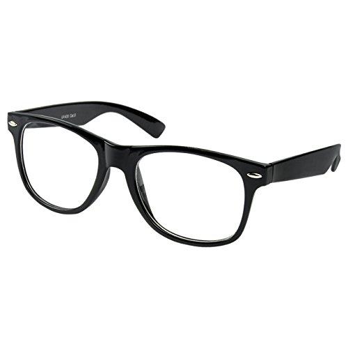 Nerdbrille Nerd Retro Look Brille Pilotenbrille Vintage Look - ca. 80 verschiedene Modelle Schwarz Klar Glas (Nerd Brille)