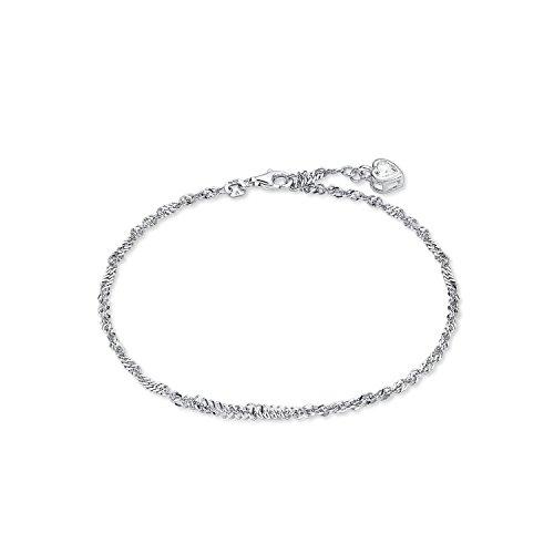 amor Fußkettchen mit Zirkonia-Herz aus rhodiniertem 925er Sterling Silber