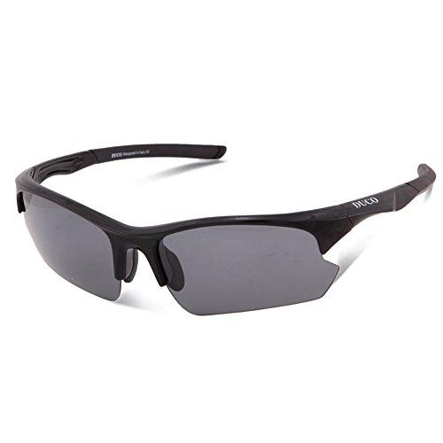 DUCO Polarisierte Sport-Sonnenbrille zum Laufen Radfahren Angeln Golf TR90 Unbreakable Rahmen 6213 (Schwarz)