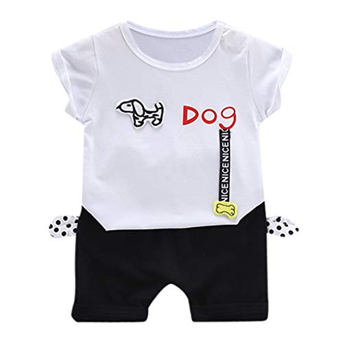 DIASTR Baby Jungen Kurzarm Brief Dog Top Shorts Zweiteiliges Set Kurzarm Top Cartoon Pommes T-Shirt Sport Shorts Sommer Outdoor Baby-Outfits (1-3Y)